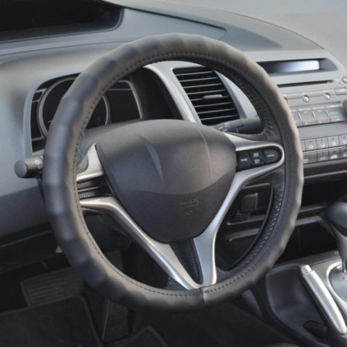 8. BDK SW-899-SK 13.5-14.5 Leather Car Steering Wheel Cover