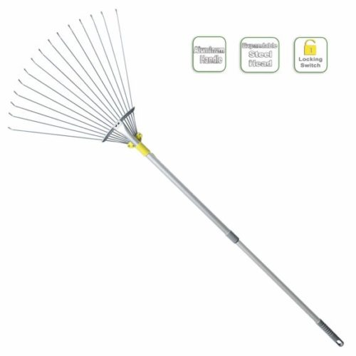 8. Jardineer 63 inch Adjustable Garden Leaf Rake,Collect Leaf Among Delicate Plants