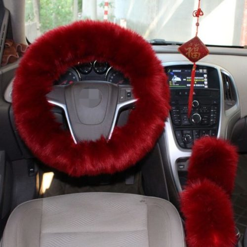 9. 1 Set 3 Pcs Steering Wheel Cover Faux Wool Hand Brake Set Warm Winter (Wine Red)