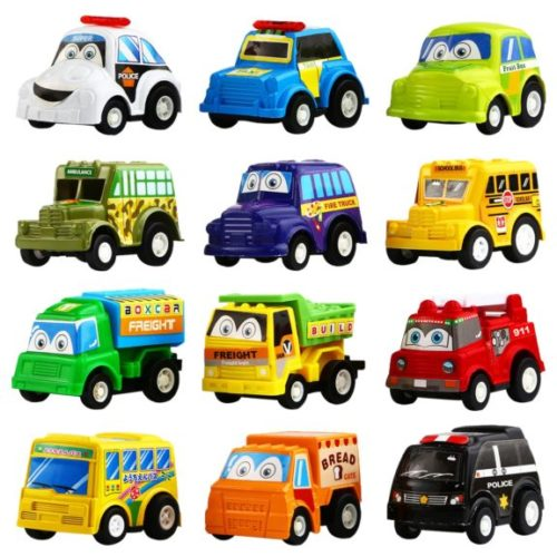 9. Funcorn Toys Pull Back Car, 12 Pack Assorted Mini Plastic Vehicle Set, Pull Back Truck and Car Toys for Boys Kids Child Party Favors