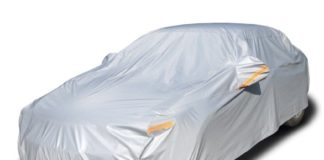 9. Kayme Four Layers Waterproof All Weather Car Covers with Cotton Zipper Sun Uv Rain Protection for Automobiles Indoor Outdoor Fit Sedan