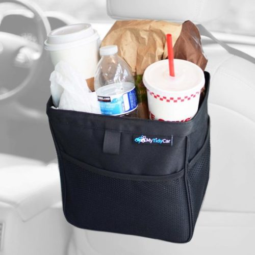 9. MyTidyCar Car Trash Can - Hanging Wastebasket & Auto Garbage Bag - Portable Waste Container with Lid and Waterproof Lining - Large 3 Gallon Capacity