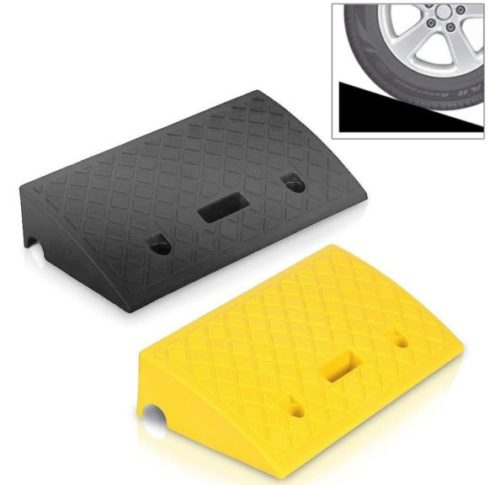 9. Portable Lightweight Plastic Curb Ramps - 2PC Heavy Duty Plastic Threshold Ramp Kit Set for Driveway, Loading Dock, Sidewalk, Car