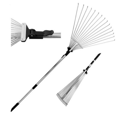 "9. TABOR TOOLS J16A Telescopic Metal Rake 63"", Adjustable Folding Leaves Rake for Quick Clean Up of Lawn and Yard, Garden Leaf Rake"