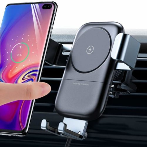 9. andobil Wireless Car Charger Mount, Auto-Clamping 7.5W ,10W Power Fast Charging Qi Cell Phone Holder Compatible