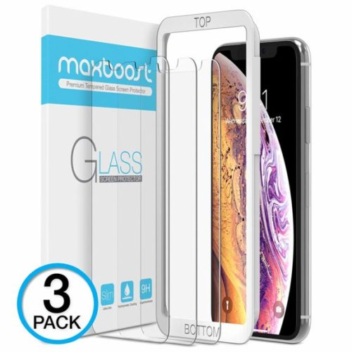 1. Maxboost Screen Protector for Apple iPhone XS Max (6.5 inch) (Clear, 3 Packs) 0.25mm iPhone XS Max Tempered Glass Screen Protector