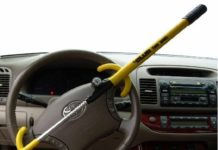 1.The Club 3000 Twin Hooks Steering Wheel Lock, Yellow
