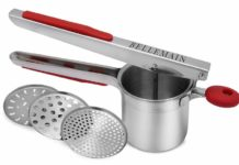 1.Top Rated Bellemain Stainless Steel Potato Ricer with 3 Interchangeable Fineness Discs-Full 2-Year Warranty