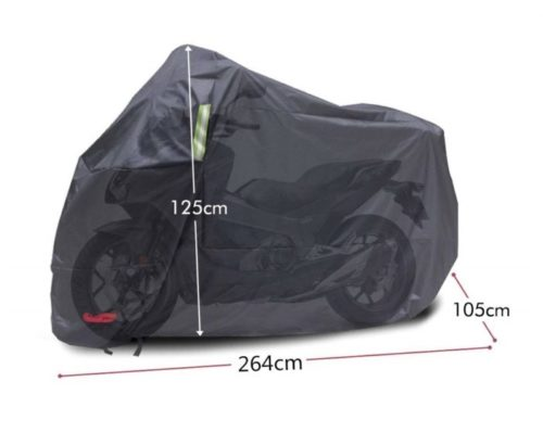 10.Waterproof Motorcycle Cover, All Weather Outdoor Protection, 210D Oxford Durable & Tear Proof for 104 Inch Motorcycles Like Honda, Yamaha, Suzuki, Harley.