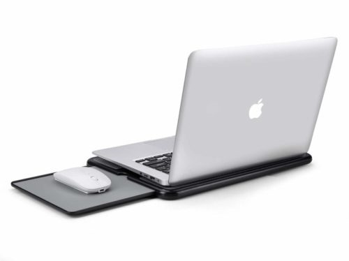 11.AboveTEK Portable Laptop Lap Desk w Retractable Left Right Mouse Pad Tray, Non-Slip Heat Shield Tablet Notebook Computer Stand Table wSturdy Stable Cooler