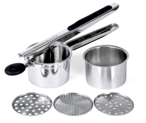 11.Rorence Stainless Steel Potato Ricer with 3 Interchangeable Discs & Inner Cup & Silicone Grip Handles - Black