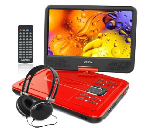 12.WONNIE-12.5-Inch-Portable-DVD-Player-10.5-Swivel-Screen-4-Hour-Rechargeable-Battery-USB-SD-Slot-RED