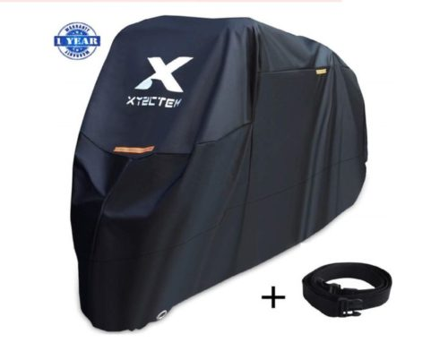 12.XYZCTEM Motorcycle Cover -Waterproof Outdoor Storage Bag,Made of Heavy Duty Material Fits up to 108 inch, Compatible with Harley Davison and All