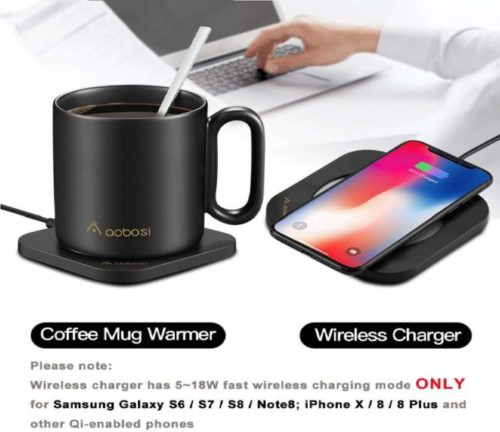 13.Coffee Mug Warmer with Wireless Charger (2 in 1), AAOBOSI Mug Warmer, Wireless Charging, Constant Temperature (about 122°F 50°C) for Home & Office Use
