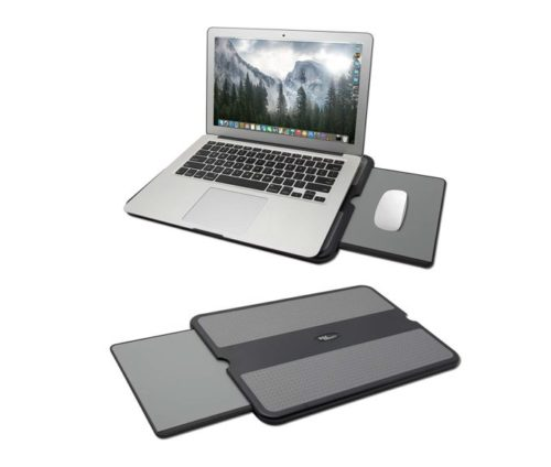 13.MAX SMART Laptop Lap Pad - Laptop Stand Pad w Retractable Mouse Pad Tray, Anti-Slip Heat Shield Tablet Notebook Computer Stand Table, Working Surface for