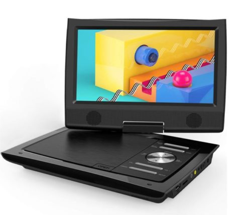 "13.ieGeek-11""-Portable-DVD-Player-with-Dual-Earphone-Jack-360°-Swivel-Screen-5-Hrs-Rechargeable-Battery-Supports-SD-Card-USB-CD-DVD-and-Region-Free-Remote."