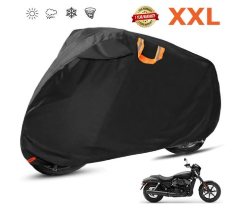 15.Motorcycle Cover Waterproof Outdoor 210D Oxford Heavy Duty, Night Reflective, Windshield Liner, Vents, Lock Holes, Taped Seams for 104 Inches Motorcycles.