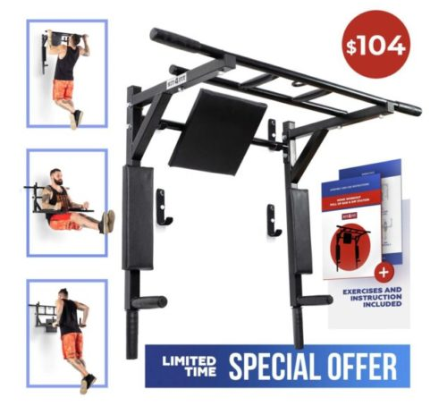 15,Wall Mounted Pull Up Bar and Dip Station with Vertical Knee Raise Station Indoor Home Exercise Equipment for Men Woman and Kids Great for Workout and