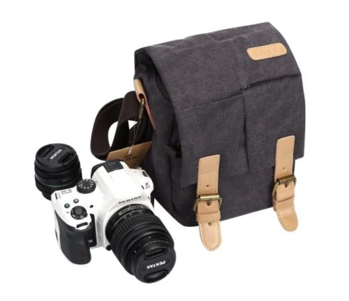 2.S-ZONE Vintage Small Waterproof Canvas Leather Trim DSLR SLR Shockproof Camera Shoulder Messenger Bag