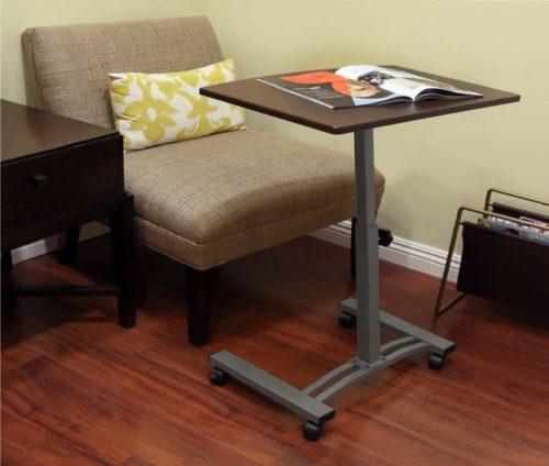 2.Seville Classics WEB162 Mobile Laptop Computer Desk Cart Height-Adjustable from 20.5 to 33, Slim, Walnut
