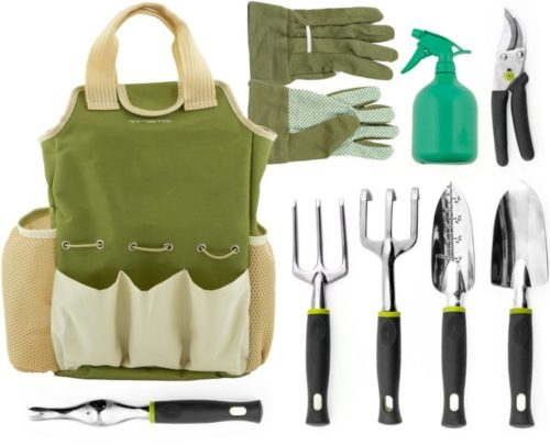 3. Vremi 9 Piece Garden Tools Set - Gardening Tools with Garden Gloves and Garden Tote