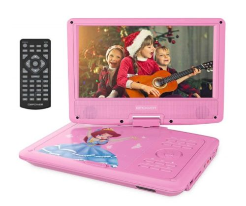 4.DBPOWER-9-Portable-Kids-DVD-Player-with-Rechargeable-Battery-Swivel-Screen-SD-Card-Slot-and-USB-Port-with-1.8M-Car-Charger-and-1.8M-Power-Adaptor-Pink
