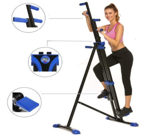 4.Hurbo Vertical Climber Home Gym Exercise Folding Climbing Machine Exercise Bike for Home Body Trainer Stepper Cardio Workout Training Non-Stick Grips Legs...
