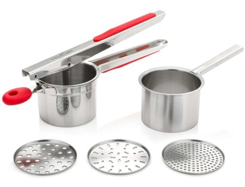 4.UberChef Potato Ricer Set with 3 Ricing Discs (Fine, Medium, Coarse) - Premium Stainless Steel Baby Food Strainer, Fruit Masher, and Food Press with...