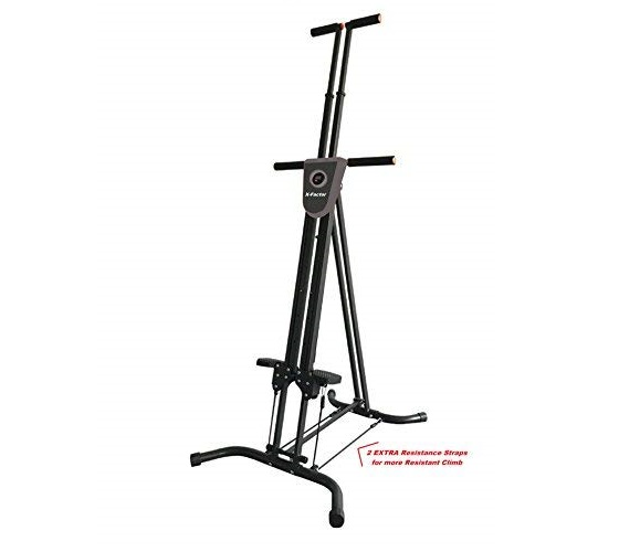 5.Vertical Climber Cardio Exercise X-Factor with monitor and resistance straps for smooth climbing