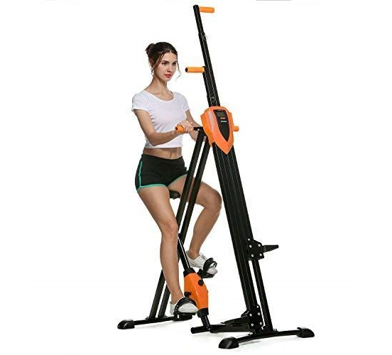 6.ANCHEER Vertical Climber Folding Exercise Climbing Machine, Exercise Equipment Climber for Home Gym, Stair Stepper Exercise for Home Body Trainer (Orange)