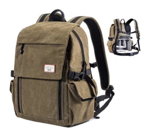 6.Zecti Camera Backpack Waterproof Canvas DSLR Camera Bag (New Version) For 1 DSLR 4xLens, Laptop and Other Digital Camera Accessories with Rain Cover-Green