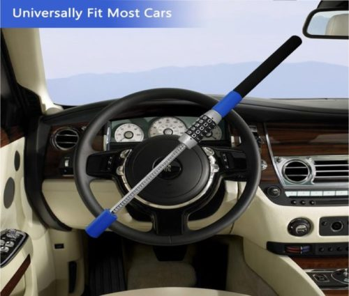 7.LC Prime Steering Wheel Lock Universal Vehicle Car Truck Van SUV Keyless Password Coded Twin Hooks Extendable Retractable Heavy Duty Security Guard Anti.