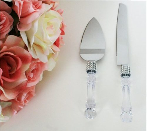 7.Lolasaturdays Wedding Party Cake Knife Server Set with Faux Crystal Handle and diamond accents