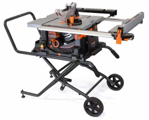 7.WEN 3720 15A Jobsite Table Saw with Rolling Stand, 10