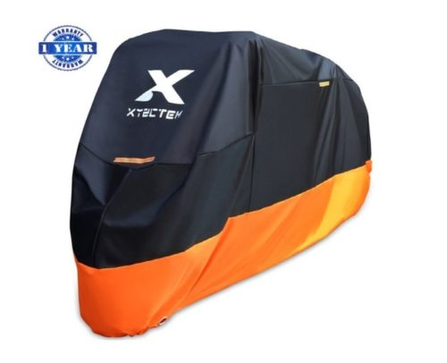 7.XYZCTEM Motorcycle Cover - All Season Waterproof Outdoor Protection - Fit up to 116 inch Tour Bikes, Choppers and Cruisers - Protect Against Dust, Debris