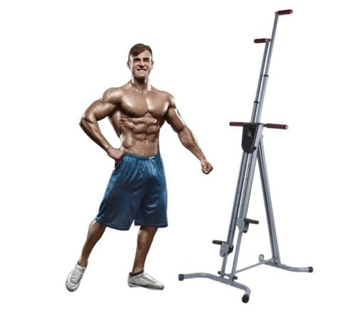 8.Homgrace Vertical Climber Cardio Exercise, Total Body Workout Climber Machine, Folding Climbing Machine with Resistance for Home Gym Step Climber (Grey)
