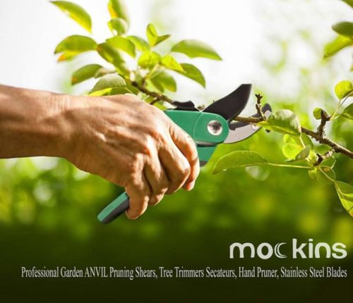8.Mockins Professional Heavy Duty Garden Anvil Pruning Shears, Tree Trimmers Secateurs, Hand Pruner, Stainless Steel Blades 8 mm Cutting Capacity