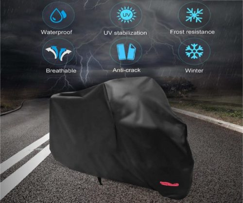 8.Motorcycle Cover,WDLHQC 210D Waterproof Motorcycle Cover All Weather Outdoor Protection,Oxford Durable & Tear Proof,Precision Fit for 105 inch Motors