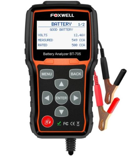 9. Battery Tester FOXWELL BT705 Automotive 100-2000 CCA Battery Load Tester, 12V 24V Car Cranking and Charging System Test Scan