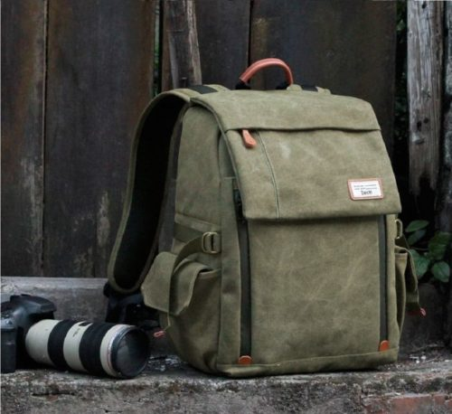 9.Camera Backpack Zecti Waterproof Canvas Professional Camera Bag for Laptop and Other Digital Camera Accessories with Rain Cover-Green