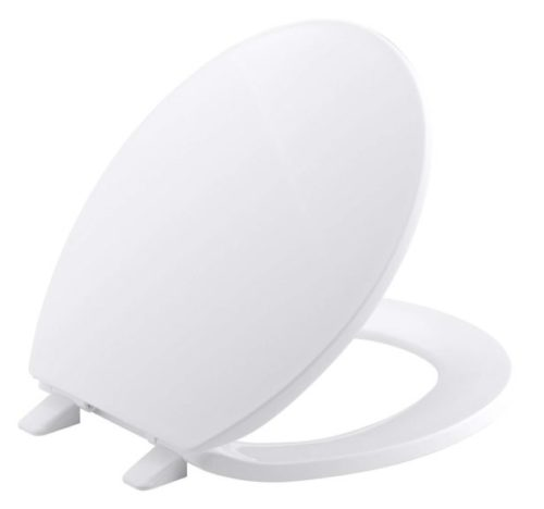 11. Kohler K-4775-0 Brevia with Quick-Release Hinges Round-front Toilet Seat in White