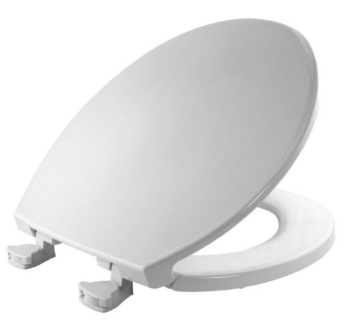 12. Bemis 800EC 000 Plastic Round Toilet Seat with Easy Clean & Change Hinge, White