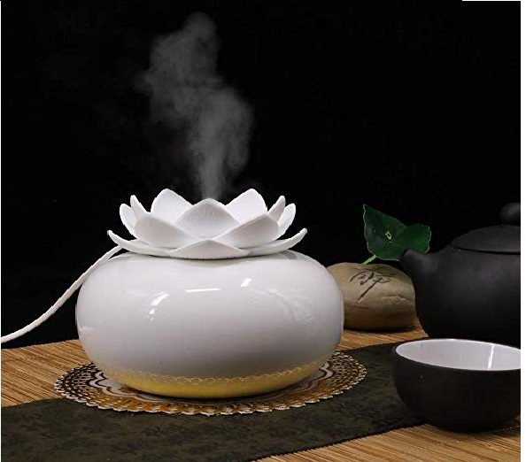 12.YJY Flower Essential Oil Diffuser Decorative Aromatherapy Diffuser,Cute Lotus Ceramic Humidifier Crafts Ornaments,USB Timer 12 Hours Portable for Home Bedroom Office...