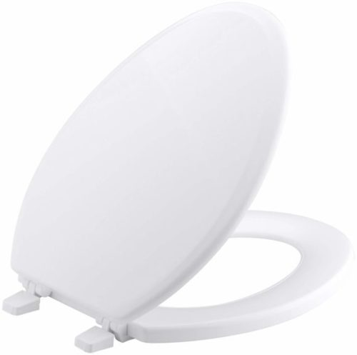3. KOHLER K-4694-0 Ridgewood Molded-Wood with Color-Matched Plastic Hinges Elongated Toilet Seat, White