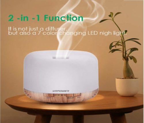 3.URPOWER OD-501 500ml Aromatherapy Essential Oil Diffuser Humidifier Room Decor Lighting with 4 Timer Settings, 7 LED Color Changing Lamps and Waterless Auto