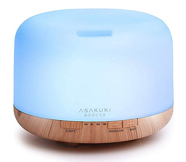 5.ASAKUKI 500ml Premium, Essential Oil Diffuser, 5 In 1 Ultrasonic Aromatherapy Fragrant Oil Humidifier Vaporizer, Timer and Auto-Off Safety Switch, 7 LED Light Colors