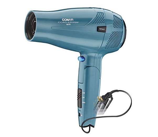 6.Conair 1875 Watt Cord Keeper Hair Dryer with Folding Handle and Retractable Cord, Travel Hair Dryer, Teal