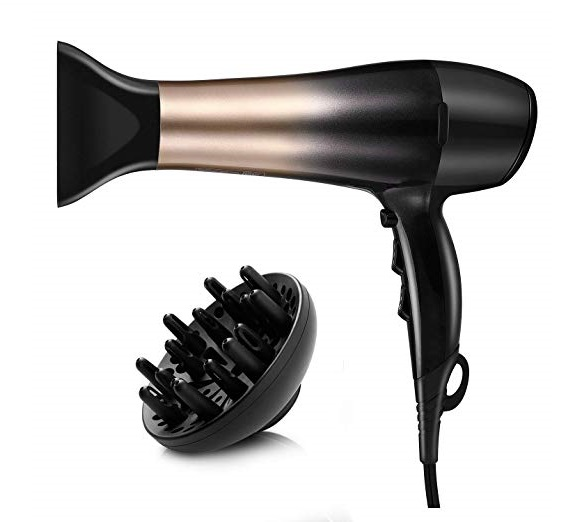 8.KIPOZI 1875W Hair Dryer, Nano Ionic Blow Dryer Professional Salon Hair Blow Dryer Lightweight Fast Dry Low Noise, with Concentrator, Diffuser, 2 Speed and 3 Heat Settings