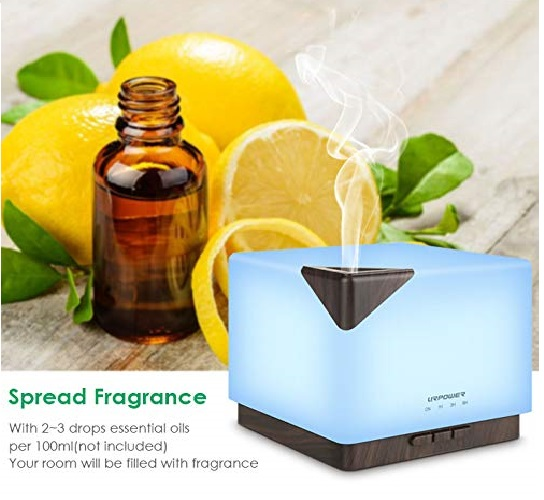 8.URPOWER 700ml Square Aromatherapy Essential Oil Diffuser Humidifier Large Capacity Modern Ultrasonic Aroma Diffusers Running 20+ Hours 7 Color Changing for.