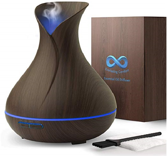 9.Diffuser for Essential Oils (400ml) - Super High Aroma Output, FREE Cleaning Kit - Dark Wood Essential Oil Diffuser